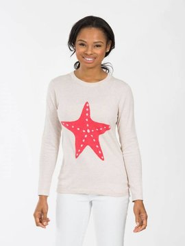 TWO BEES CASHMERE STARFISH CASHMERE SWEATER