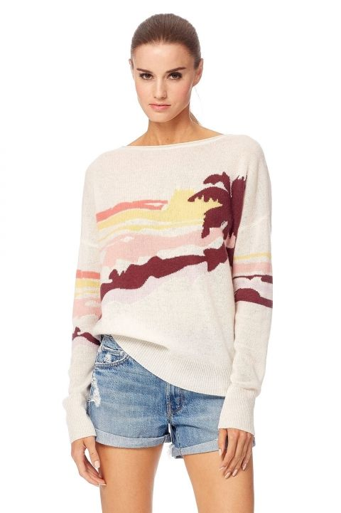 360 SWEATER SUNNY CHALK MULTI CASHMERE SWEATER