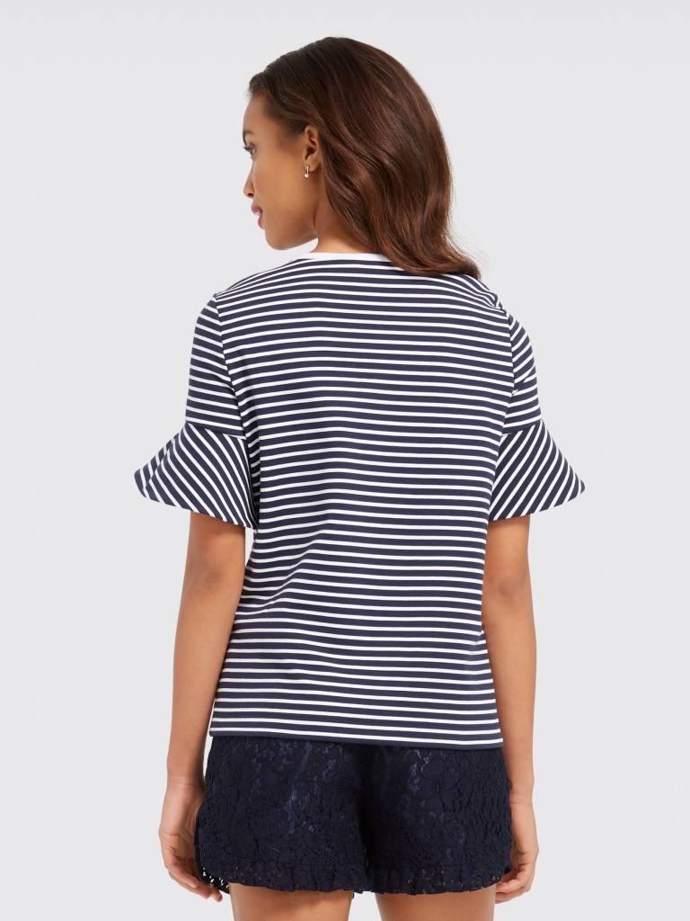DRAPER JAMES SAILOR STRIPE RUFFLE POINT TEEE