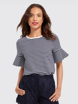DRAPER JAMES SAILOR STRIPE RUFFLE POINT TEE