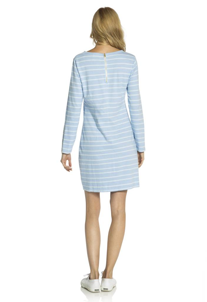 SAIL TO SABLE HYDRANGEA & GLACIER STRIPE LONG SLEEVE DRESS