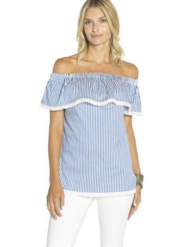 SAIL TO SABLE SHIRTING STRIPE OFF SHOULDER TOP