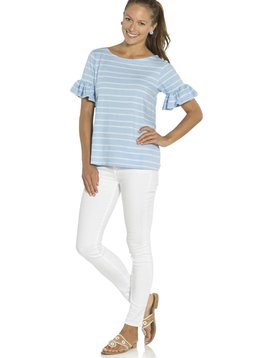 SAIL TO SABLE HYDRANGEA & GLACIER STRIPE RUFFLE SLEEVE TOP
