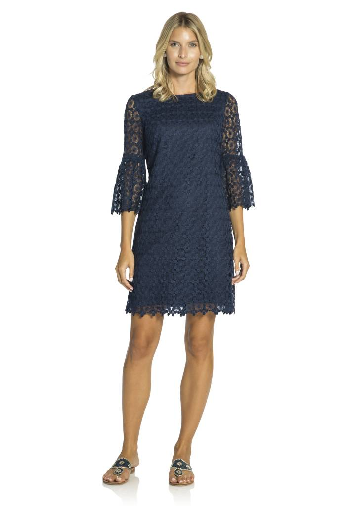 SAIL TO SABLE DOT LACE BELL SLEEVE DRESS