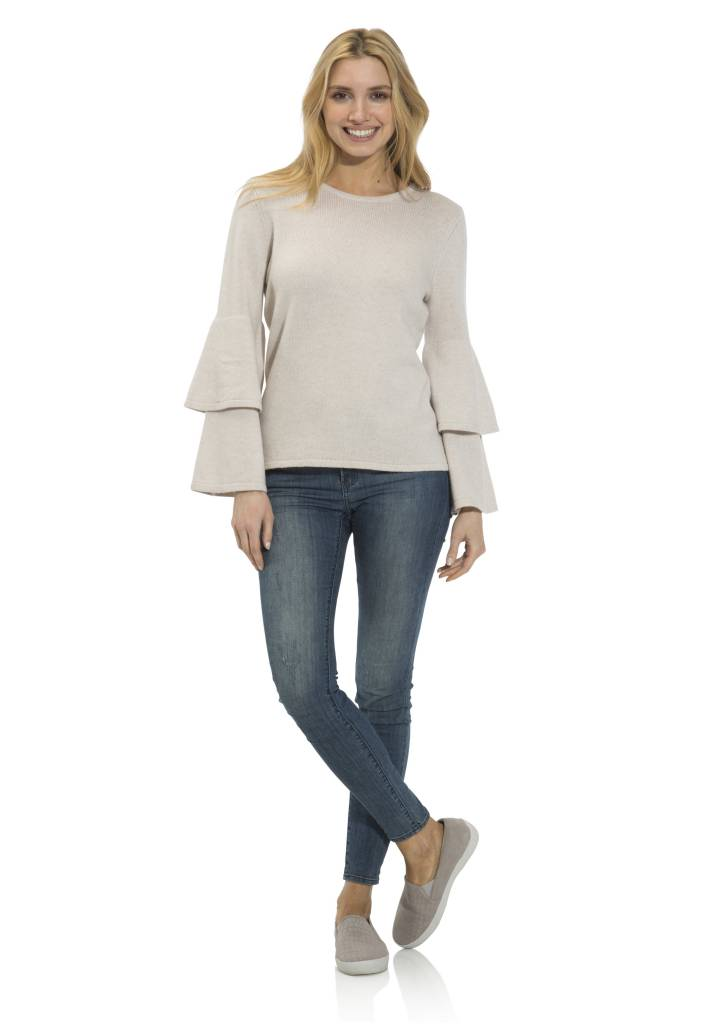 SAIL TO SABLE CASHMERE DOUBLE BELL SLEEVE SWEATER