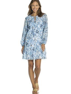 SAIL TO SABLE FISH PRINT LONG SLEEVE PEPLUM DRESS