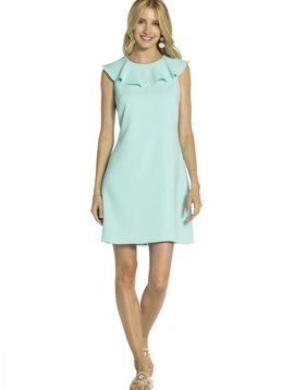 SAIL TO SABLE POLY CREPE RUFFLE NECK SHIFT DRESS