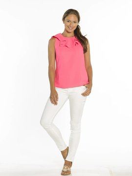 SAIL TO SABLE POLY CREPE RUFFLE NECK TOP