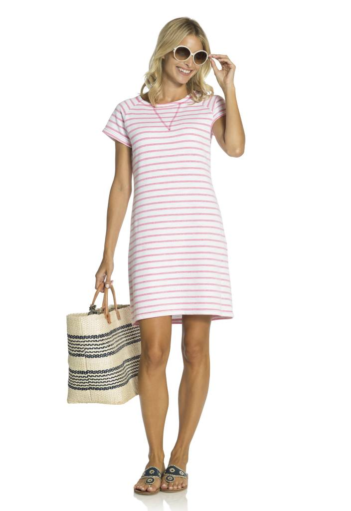 SAIL TO SABLE FRENCH TERRY SHORT SLEEVE DRESS
