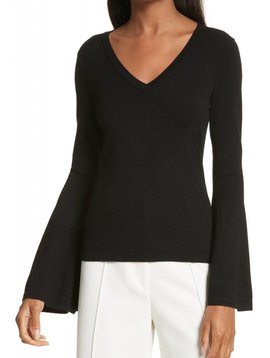 MILLY BELL SLEEVE V NECK PULLOVER SWEATER