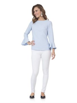 SAIL TO SABLE POLY  CREPE TOP WITH FLOUNCE SLEEVE