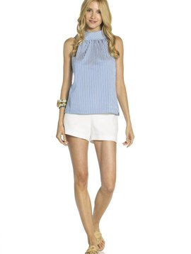 SAIL TO SABLE SHIRTING STRIPE BUTTON UP BACK COWL NECK TOP