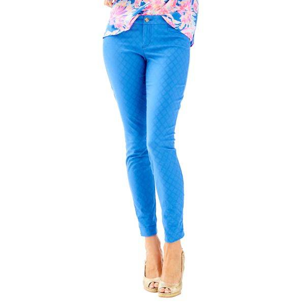 "LILLY PULITZER 29"" KELLY TEXTURED ANKLE LENGTH SKINNY PANT"