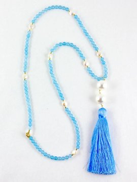 SASHA LICKLE SASHA LICKLE BLUE JADE TASSEL NECKLACE SLN210