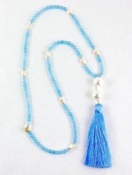 SASHA LICKLE SASHA LICKLE BLUE JADE TASSEL NECKLACE SLN210