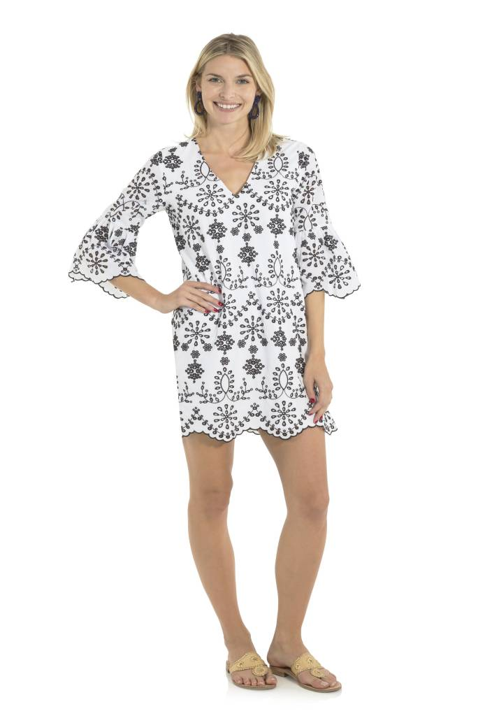 SAIL TO SABLE EMBROIDERED EYELET BELL SLEEVE DRESS