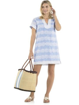 SAIL TO SABLE CRINKLE COTTON SHORT SLEEVE DRESS HYDRANGEA