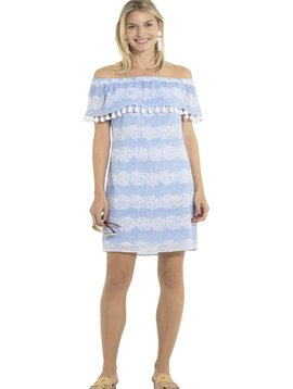 SAIL TO SABLE CRINKLE COTTON OFF SHOULDER DRESS HYDRANGEA