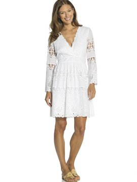 SAIL TO SABLE EMBROIDERED COTTON FIT & FLARE DRESS