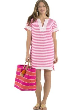 SAIL TO SABLE CRINKLE COTTON SHORT SLEEVE DRESS