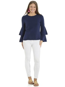 SAIL TO SABLE DOUBLE BELL SLEEVE SWEATER NAVY