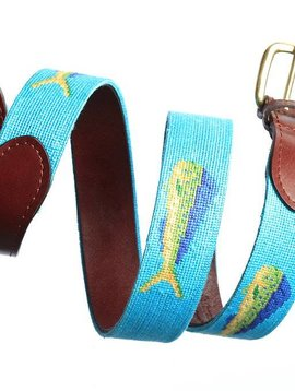 SMATHERS AND BRANSON MAHI MAHI NEEDLEPOINT BELT