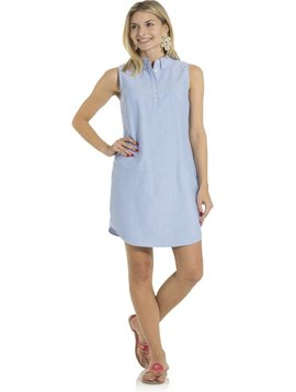 SAIL TO SABLE SLEEVELESS OXFORD SHIRTING DRESS