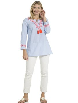 SAIL TO SABLE SHIRTING STRIPE TASSEL TUNIC TOP