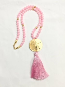 SASHA LICKLE PINK SAND DOLLAR TASSEL NECKLACE