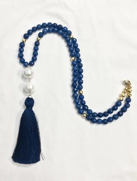 SASHA LICKLE NAVY & PEARL TASSEL NECKLACE