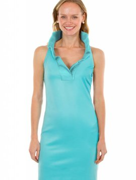 GRETCHEN SCOTT JERSEY RUFFNECK SLEEVELESS DRESS - SOLID