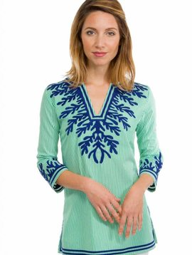 GRETCHEN SCOTT WASH -AND-WEAR EMBROIDERED PINSTRIPE TUNIC - THE REEF