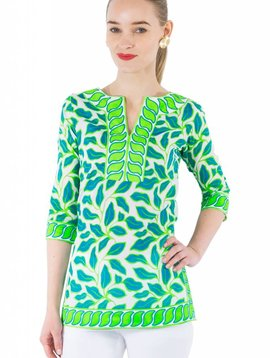 GRETCHEN SCOTT SPLIT NECK TUNIC -  LEAFY LEAF