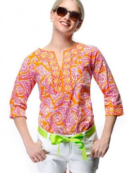 GRETCHEN SCOTT SPLIT NECK TUNIC - PLENTIFUL PAISLEY