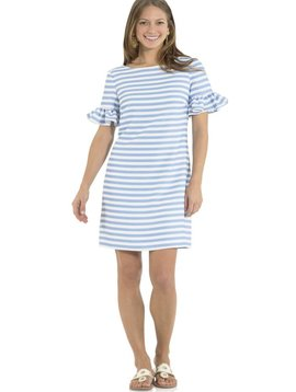 SAIL TO SABLE POLY CREPE RUFFLE SLEEVE DRESS HYDRANGEA