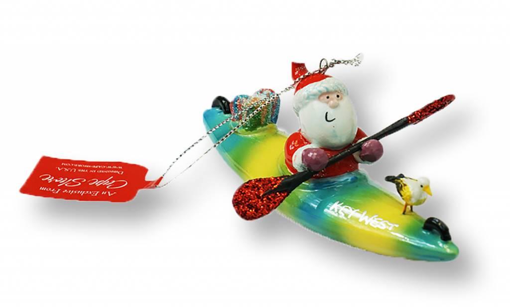cape shore Santa in Kayak Ornament