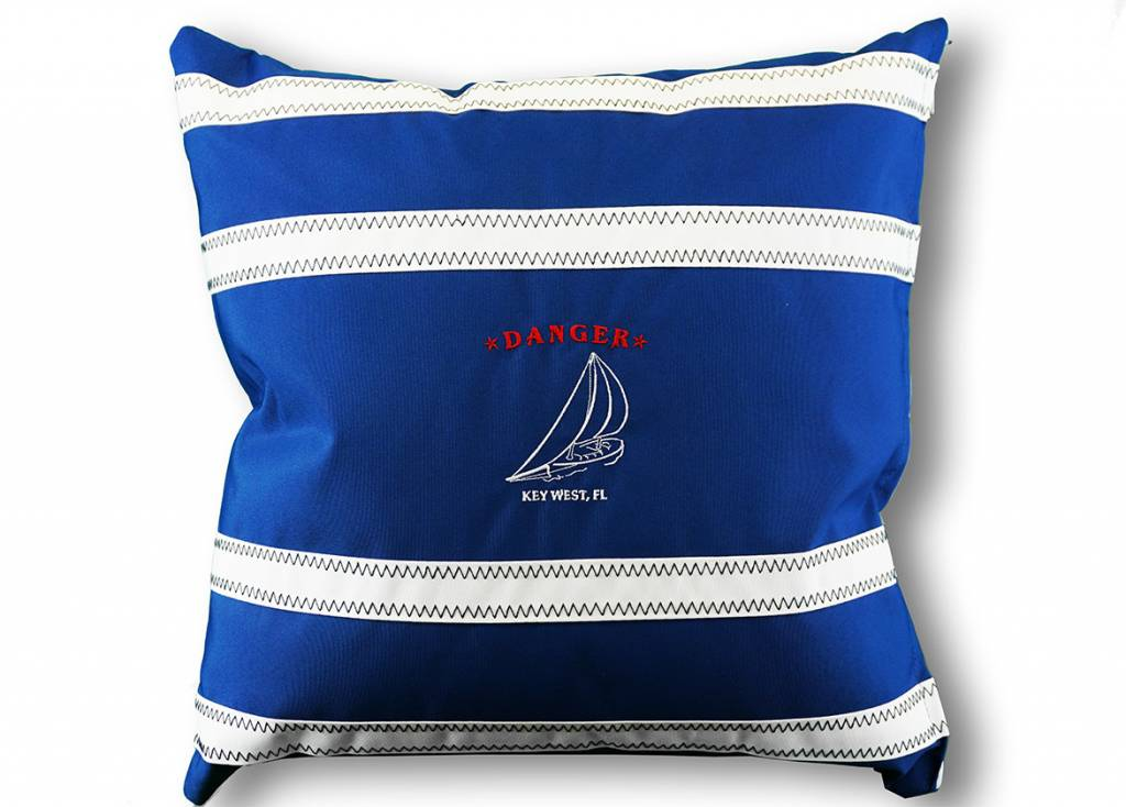 Sailcloth Pillow Cover, Blue and White