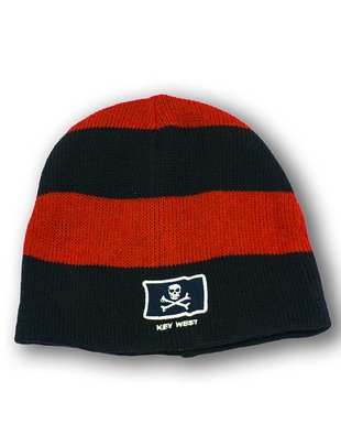 Navy & Scarlet Rugby Beanie w/Pirate Key West Embroidery