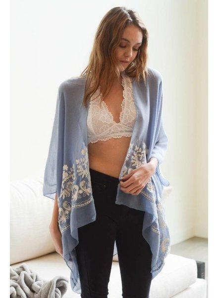 Floral Embroidered Stitch Kimono-Blue