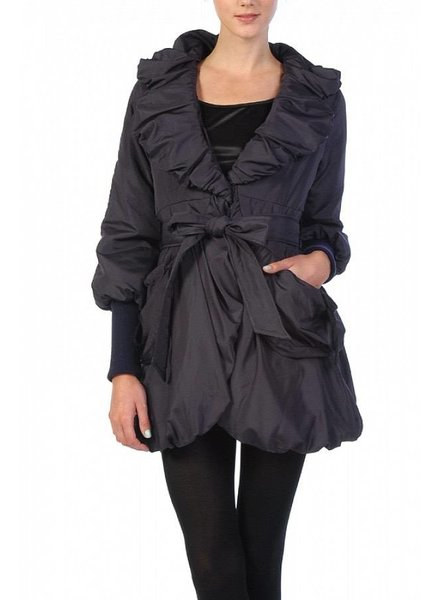 Off Black Shirring Neckline Jacket