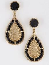 Gold & Black Precious Pearl Beaded Earrings