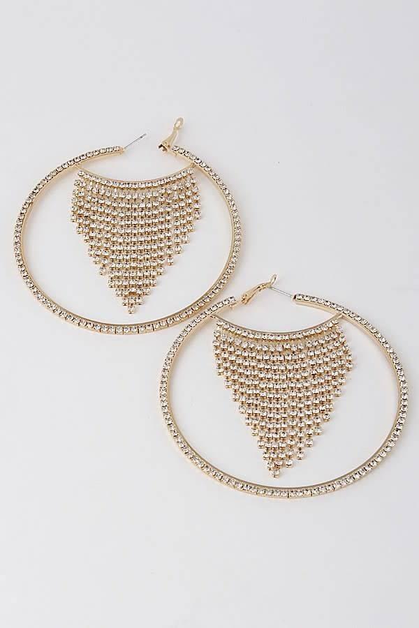 Gold Diva Rhinestone Hoop Earrings