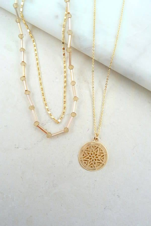 Shabby cottage boho boutique gold 3 piece circle pendant necklace gold 3 piece circle pendant necklace aloadofball Gallery