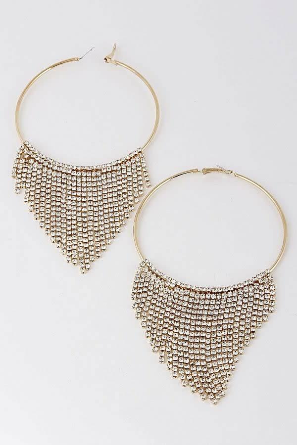 Gold Rhinestone Fringe Hoop Earrings