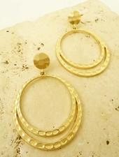 Gold Double Hoop Hammered Earrings