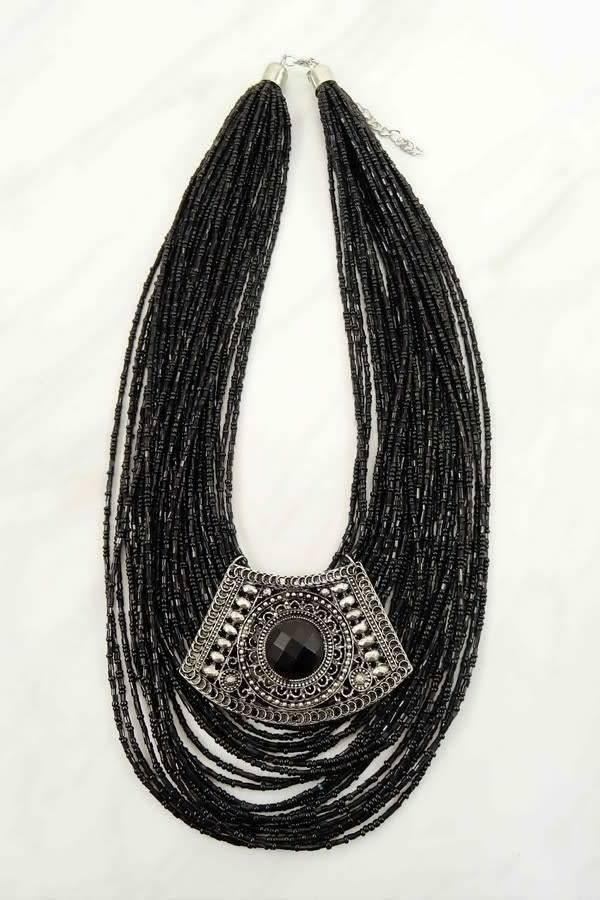 Shabby cottage boho boutique black seed bead pendant necklace black seed bead pendant necklace aloadofball Choice Image