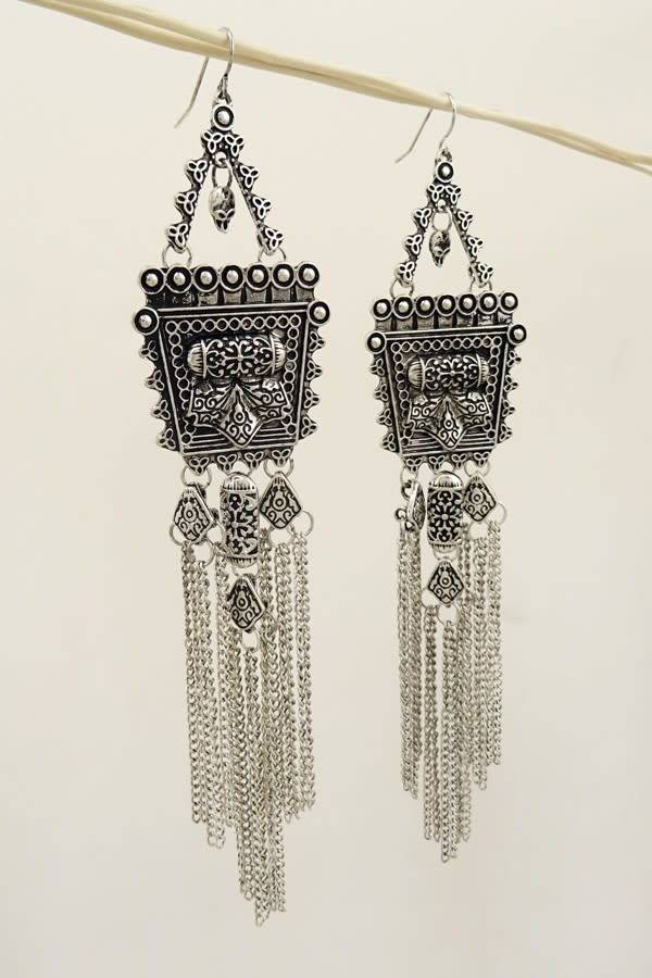 Silver Square Fringe Boho Earrings