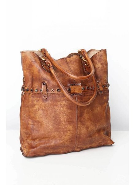 Brown Button Closure Tote