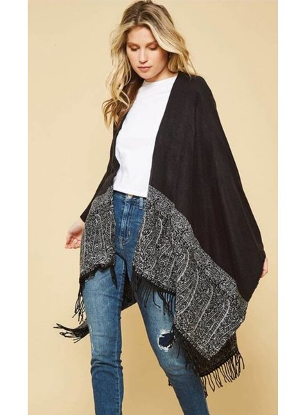 Black Poncho with Border