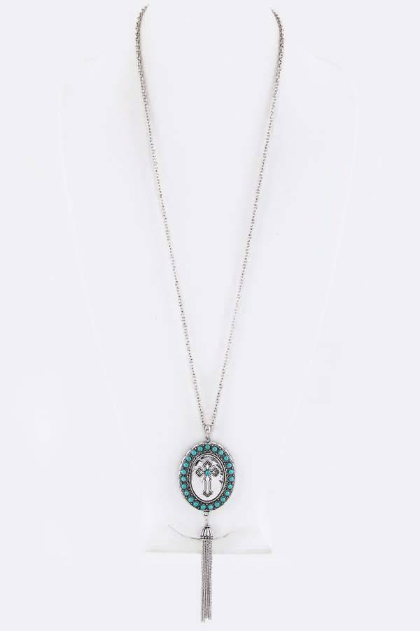 Shabby cottage boho boutique turquoise oval cross pendant necklace turquoise oval cross pendant necklace aloadofball Choice Image